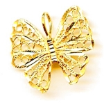 Butterfly 14k Gold Filigree Pendant