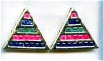 Pyramid 14k Gold Ruby, Emerald And Sapphire Earrings