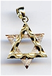 Star Of David Diamond Cut 14k Gold Pendant