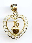 14k Gold '16' Heart Pendant