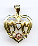 14k 'mom' White, Yellow And Rose Gold Pendant