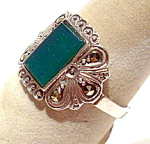 Marcasite Green Onyx Sterling Silver Vintage Ring