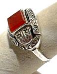 Carnelian Marcasite Sterling Silver Vintage Ring