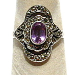 Amethyst Marcasite Sterling Silver Vintage Ring