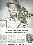 1956 Bolex Movie Camera Ad Sheet -bing Crosby