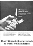 Older Zippo Lighter Ad Sheet