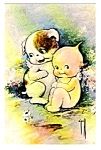 Rose Oneill Kewpie And Winged Puppy Postcard