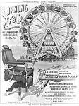 C.1895 Worlds Fair Ferris Wheel Barber Chair Adv. Print