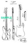 Patent Art: 1953 Fender Precision Bass Guitar - Matted