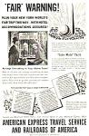 1939 Ny Worlds Fair American Express/railroad Mag. Ad