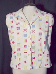 Vintage 1950's Nautical Flags Womens Sleeveless Shirt