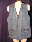 High Sierra Denim Vest W/ Beaded Embellishments