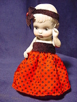 """Vintage Adorable Bisque Doll Molded Hair 6-1/4"""" Tall"""