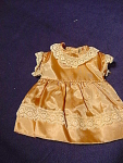Vintage Gold Satin & Lace Doll Dress