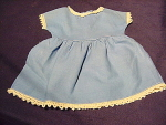 Vintage Blue Cotton Doll Dress W/ Lace Trim