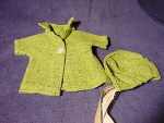 Vintage Green Wool Doll Jacket Coat & Bonnet