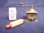 Dollhouse Miniature Coffee Ginder, Radio And Rolling Pin