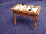 Miniature Homemade Dollhouse Backgammon Table