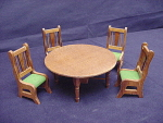 Miniature Wood Dollhouse Dining Table, (4) Chairs