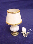 Miniature Dollhouse White Table Lamp With Power Cord
