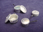 Set Of (4) Miniature Dollhouse Pots, Pans And Lids