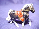 Painted Cast Metal Horse With Saddle Figurine