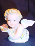 Vintage Lefton Bisque Angel Figurine With Flowers
