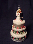 Contemporary Bride Groom Wedding Cake Blown Glass Ornament