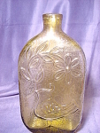 Olive Green Bottle W/ Embossed Bird And Flower