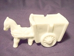 Vintage Milk Glass Horse And Cart Candy Container Dish