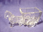 Vintage Glass Horse And Cart Candy Container Dish