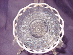 Imperial Glass Lace Edged Buttons Blue Opalescent Bowl