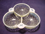 Vintage Hocking Glass Moonstone Three-part Relish Dish