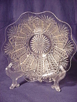 Antique Crystal Fan & File Pattern Glass Bowl