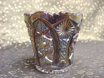 Vintage Imperial Grey Glass Carnival Toothpick Match Holder