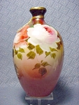 Antique Painted Milk Glass Vase With Roses