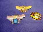 Three Tin Pinback Insects, (2) Bees, (1) Ladybug