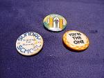 Three Religious Vintage Pinback Buttons