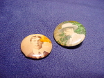 Two Vintage 1920's Photo Pinback Buttons