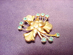 Gold Wash And Turquoise Rhinestone Brooch Pin