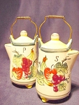 Set Of Vintage Coffee Kettle Salt And Pepper Shakers