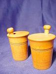 Vintage Wood Mortar & Pestle Salt And Pepper Shakers