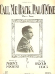 Call Me Back, Pal, O' Mine Sheet Music 1921