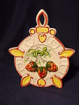Vintage Pottery Trivet W/ Strawberries Wall Pocket Vase