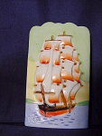 Vintage Tall Sailing Ship Wall Pocket Vase