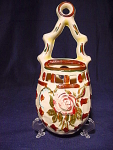 Vintage Flower Basket Wallpocket Vase