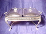 Silverplate Double Chafing Serving Stand W/ Glass Inserts