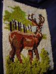 Contemporary Latch Hook Acrylic Standing Deer Wall Hanging Pillow Top
