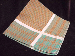 Vintage Plaid Cotton Hankie Handkerchief Green Rust