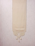 Antique Victorian Linen With Crochet Lace Table Runner
